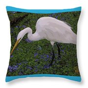 Hungry Great Egret Throw Pillow
