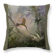 Hungry Hummers Throw Pillow
