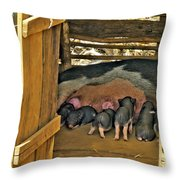 Hungry Piglets Throw Pillow