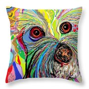 Hunter The Bichon . . . He's A Shoe Man Throw Pillow
