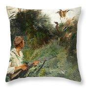 Hunter And Mallards Throw Pillow
