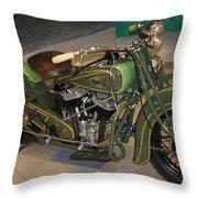 Hunter Green Indian Motorcycle...   # Throw Pillow