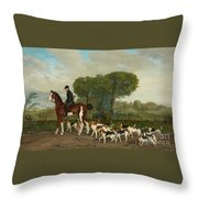 Hunter With A Pack Of Dogs Throw Pillow
