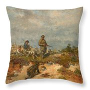 Hunters By A Fox-hole Throw Pillow