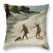Hunters In The Snow Or The Poachers Throw Pillow by Gustave Courbet