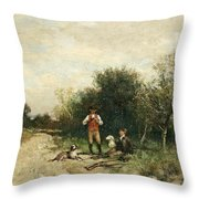 Hunters Taking A Break Throw Pillow