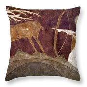 Hunting, 12th Century Throw Pillow