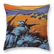 Hunting Buffalo In America Throw Pillow