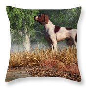 Hunting Dog By A River Throw Pillow
