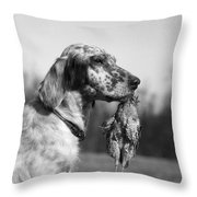 Hunting Dog With Quail, C.1920s Throw Pillow