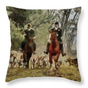 Hunting Dogs For Wild Boar Throw Pillow