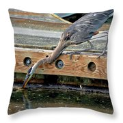 Hunting Heron Throw Pillow