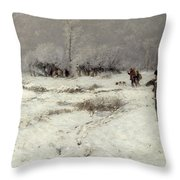 Hunting In The Snow Throw Pillow by Hugo Muhlig