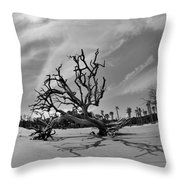 Hunting Island Beach And Driftwood Black And White Throw Pillow