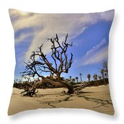 Hunting Island Beach And Driftwood Throw Pillow