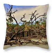 Hunting Island Driftwood Beach Beaufort Sc Throw Pillow