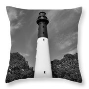 Hunting Island Lighthouse Beaufort Sc Black And White Throw Pillow