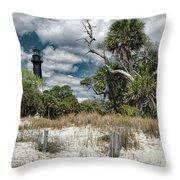 Hunting Island Lighthouse Throw Pillow