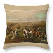 Hunting Party With Tsar Alexander IIi. And Zarina Maria Fedorovna Throw Pillow