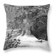 Hunting: Wild Turkey, 1886 Throw Pillow