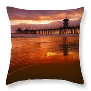 Huntington Beach At Sunset Throw Pillow