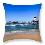 Huntington Beach Pier In Orange County California Throw Pillow