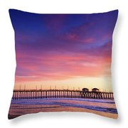 Huntington Beach Pier Sunset  Throw Pillow