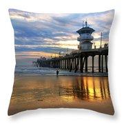 Huntington Beach Pier Sunset Throw Pillow