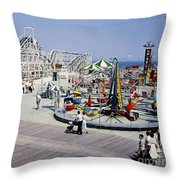 Hunts Pier On The Wildwood New Jersey Boardwalk, Copyright Aladdin Color Inc. Throw Pillow