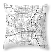Huntsville Alabama Usa Light Map Throw Pillow
