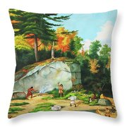 Huron's At A Portage Preparing To Camp Throw Pillow