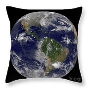 Hurricane Sandy Along The East Coast Throw Pillow by Stocktrek Images