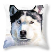 Husky Blue Throw Pillow