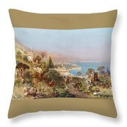 Hustle And Bustle In A Southern Harbour City Throw Pillow