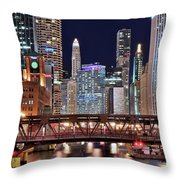 Hustle And Bustle Night Lights In Chicago Throw Pillow