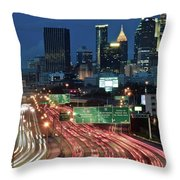Hustle And Bustle Of Atlanta Roadways Throw Pillow