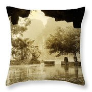 Hut In Tam Coc From A Cave River Throw Pillow