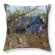Hut In Woods Throw Pillow