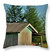 Hut With Green Boat Throw Pillow