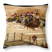 Huts And Temples On Hills Throw Pillow