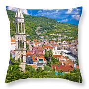 Hvar Architecture And Nature Vertical View Throw Pillow