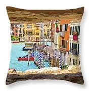 Hvar Bay Aerial View Through Stone Window Throw Pillow