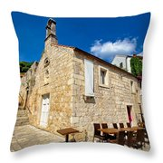 Hvar Old Stone Church And Antic Steps Throw Pillow