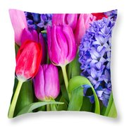 Hyacinth And  Tulip Flowers Throw Pillow