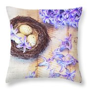 Hyacinth Flowers And Nest Throw Pillow