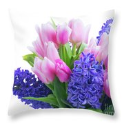 Hyacinths And Tulips  Throw Pillow
