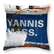 Hyannis Massachusetts Fishing Boat Throw Pillow