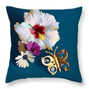 Hybiscus And Butterfly Throw Pillow