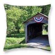 Hyde Hall Covered Bridge Throw Pillow