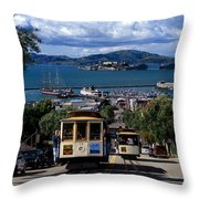 Hyde Street Cable Car Line And San Francisco Bay Throw Pillow
